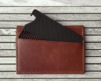 Matte Black Credit-Card Sized Comb with Bottle Opener