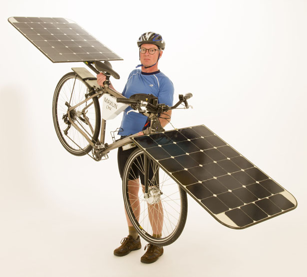 maxun one world s first solar bike for practical use tuvie. Black Bedroom Furniture Sets. Home Design Ideas