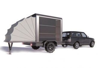 Mobile Photovoltaic Cube House Trailer Features a Telescopic Tent for Extra Space