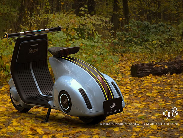 Modern Electric Vespa 98 by Mightyseed Designs