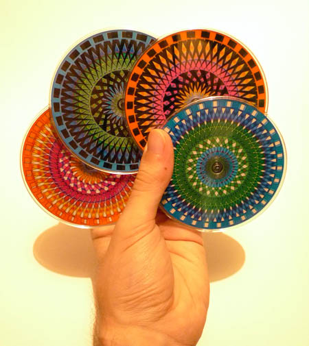 moire coaster set hand