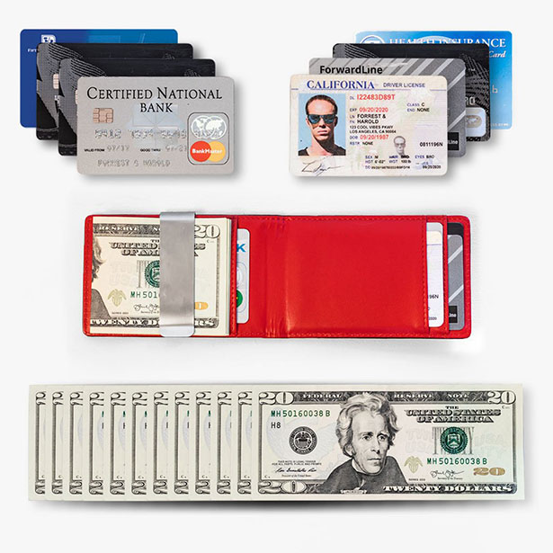 Forrest and Harold Money Clip Slim Wallet in Top Grain Leather