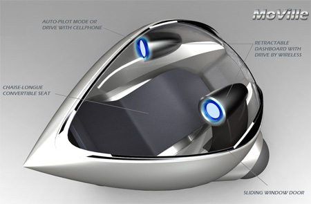 Passenger capsule is shaped in an aerodynamic teardrop shape for maximum