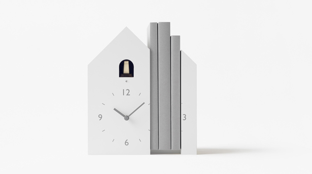 Nendo Modern Cuckoo Clocks: Bookend, Tilt, and Dent