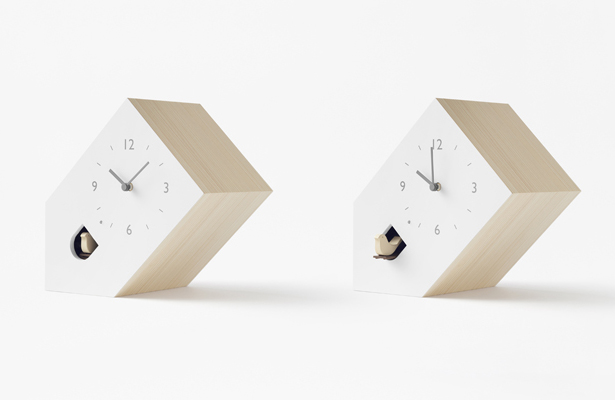 Nendo Modern Cuckoo Clocks Bookend Tilt And Dent