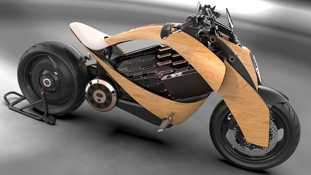 Newron Motors Introduces Electric Motorcycle Concept with Wooden Body