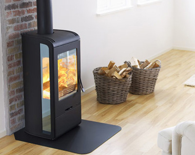 Luxury Handol 30 Wood Burning Stove with Mirrored Glass from Nibe