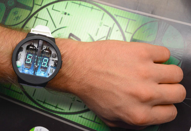 Futuristic Nixie Tube Watch v3.3 with Sapphire Crystal Glass