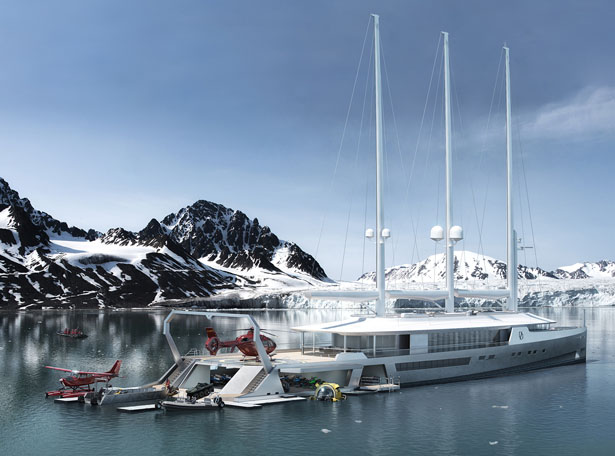 Norse 80m Sail-Assisted Exploration Yacht by Oliver Stacey Design and BMT Nigel Gee