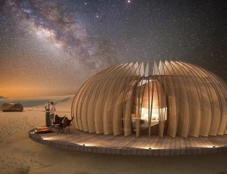 Oculus Inhabitable Pod for The Desert Morphs Into Different Configurations to Meet User's Needs