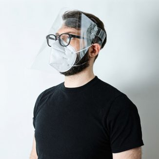 Origami Face Shield Features Adjustable Plastic Strap Around the Head