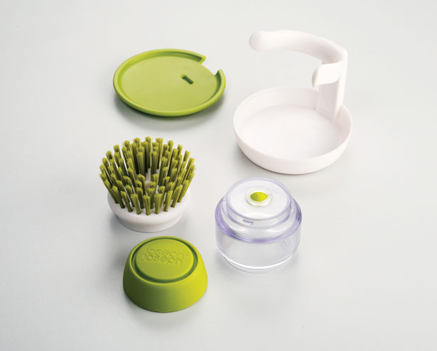 Palm Scrub Soap Dispensing Washing-up Brush with Stand by JosephJoseph