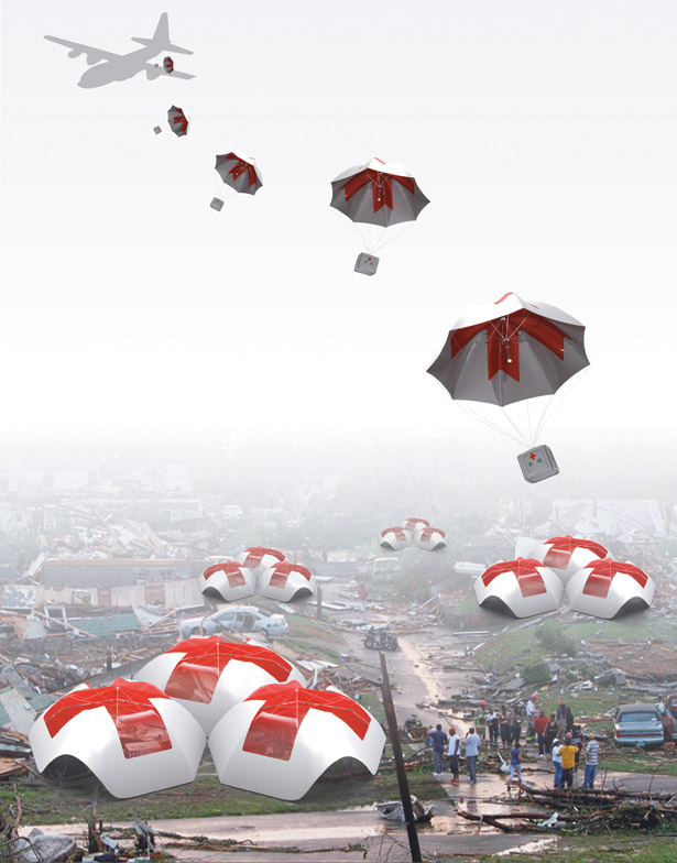 Parachute Shelter Provides Immediate Relief Aid and A Shelter to Hard-to-Reach Locations