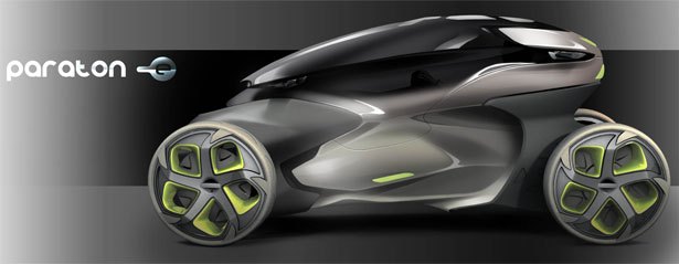 Paraton-e Futuristic Vehicle Blurs The Line Between a Car and a Motorcycle