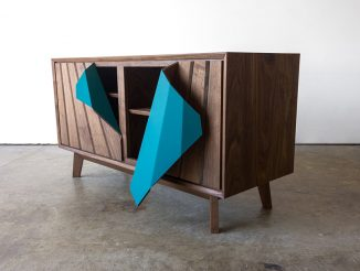 Peel Credenza Low Cabinet Design with Unexpected Detail
