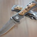 Practical Engraved, Wood Handle Pocket Knife with Titanium Coated Stainless Steel Blade