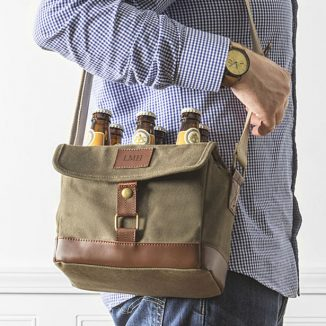 Stylish Wet Wax Canvas 6-Pack Bottle Carrier for Tailgating or BBQ Party