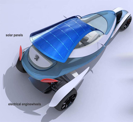 peugeot shoo car concept with solar panel roof