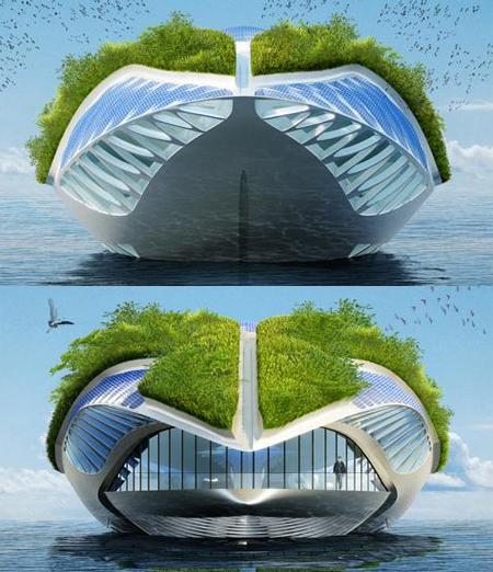 physalia vessel with amphibious garden