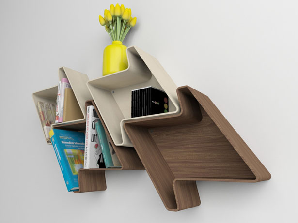 Pied-de-Poule Modular Wall Shelf System by Julia Quancard