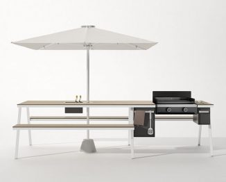 Piknik Table with Integrated Parasol and Plancha Grill