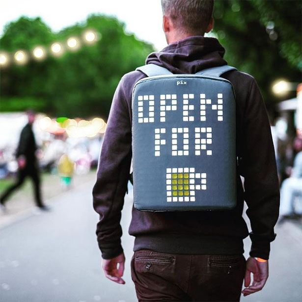 Pix Backpack with Programmable Screen to Display Images or Play Games