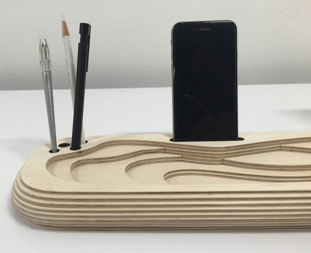 +- plus minus Flatpack Wooden Table Organization Docking Station by Subinay Malhotra