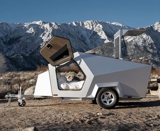 Polydrops P17A Advanced Travel Trailer Features Gull-Wing Style Doors
