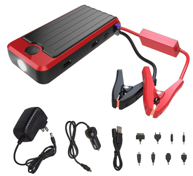 PowerAll PBJS12000R Rosso : LED Flash Light, Portable Power Bank, and Car Jump Starter
