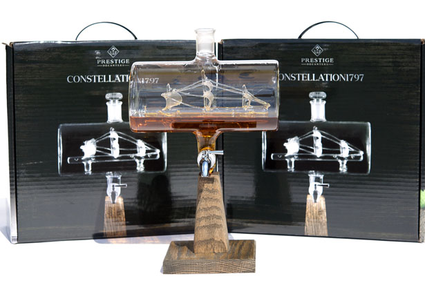 Prestige Decanters Constellation1797 Ship-in-Bottle Whiskey Decanter Features Stainless Steel Spigot and Oak Base