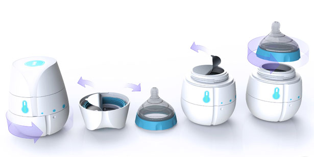Qi Self Heating Disposable Baby Bottle by HJC Design