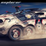Futuristic Rally Explorer Concept Vehicle for Future Race Car in The Year of 2116