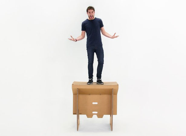 Eco-Friendly Refold's Portable Cardboard Standing Desk for Mobile Office
