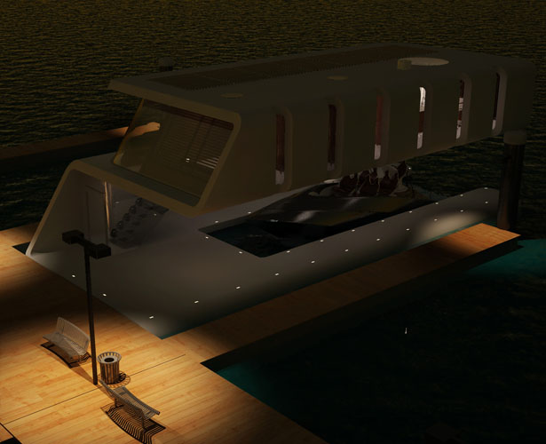 Rieul Floating Home with Dock for Yacht Owner by Hyun-Seok Kim