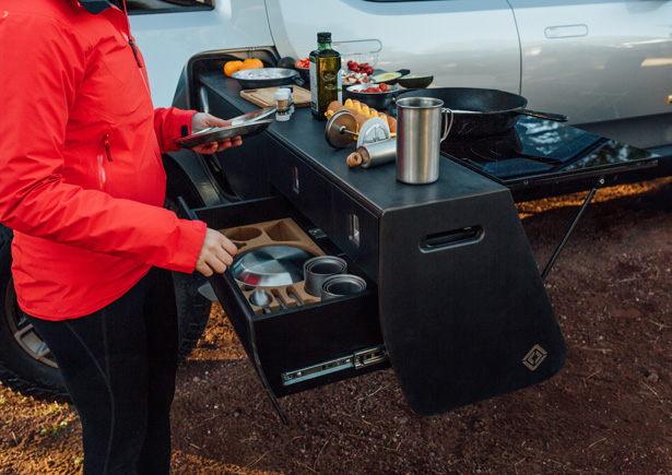 Rivian R1T Electric Pickup with Electric Camp Kitchen