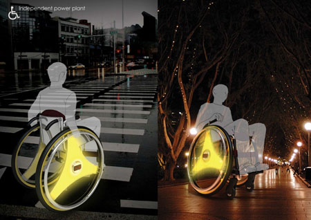 Roll.Charge.Light.Protect Wheelchair Glows Brightly During The Night