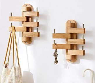 Modern, Wall Mounted Rotary Wooden Clothes Hanger Doubles as Wall Decor