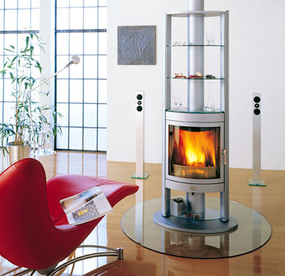 rotating wood burning stove