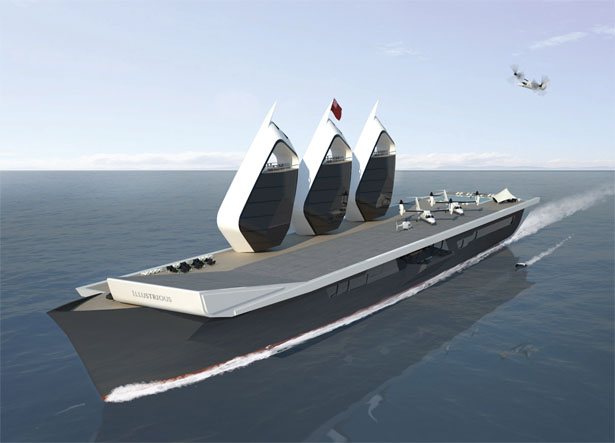 Royal Navy's Iconic Aircraft Carrier Concept Yacht by BMT and Sigmund Yacht Design