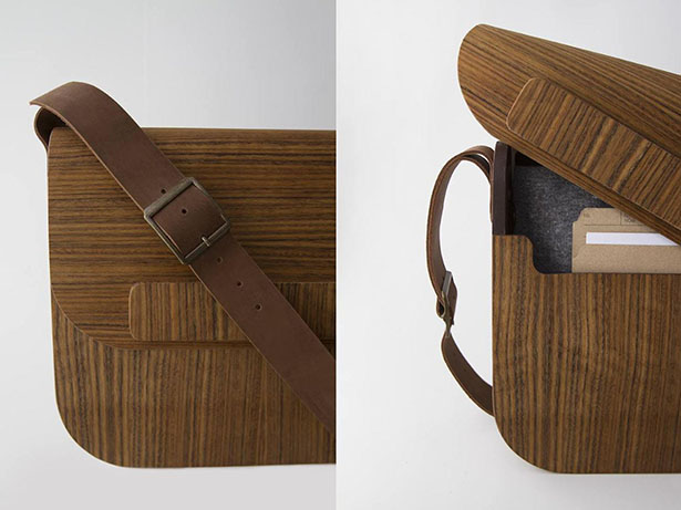 Sack (Guime) Messenger Bag Features Beautiful Wood Texture