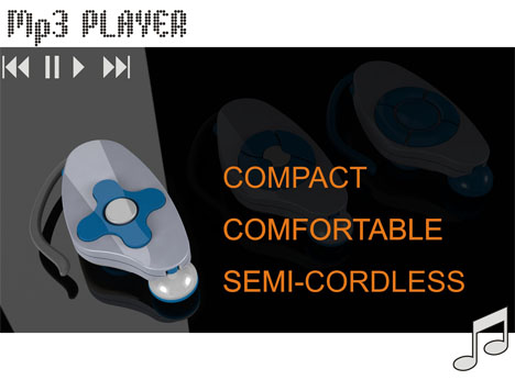 MP3 Player With Integrated Retractable Earphones