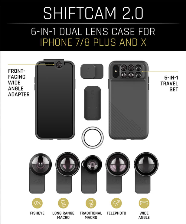 SHIFTCAM 2.0: 6-in-1 Dual Lens Phone Case