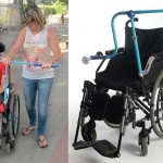 Side by Side Handle for Wheelchair Allows Caregiver to Walk Alongside The Person Seated in The Chair