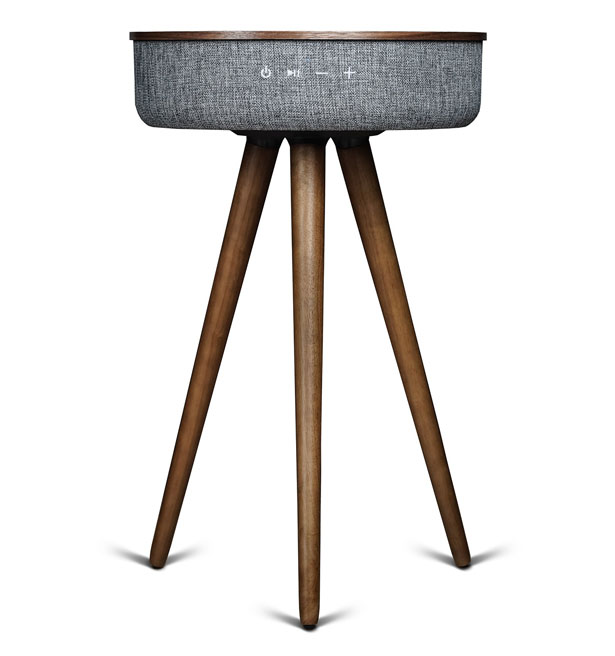 Sierra Modern Home Studio Smart Table with Built In 360-degree Bluetooth Speaker and Wireless Qi Charger