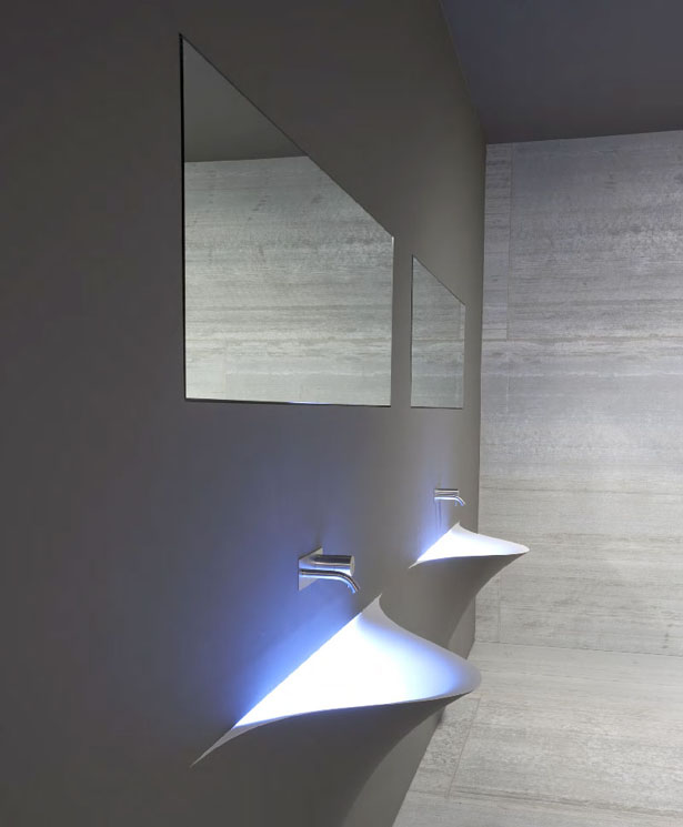 Gorgeous Silenzio Wall-integrated Sink for Futuristic Bathroom by Domenico De Palo