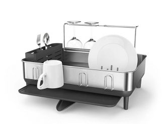 SimpleHuman Steel Frame Drying Rack Drains Excess Water Into Sink Fast