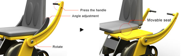 Sliding Wheelchair : Adjustable Wheelchair With Slidable Seat