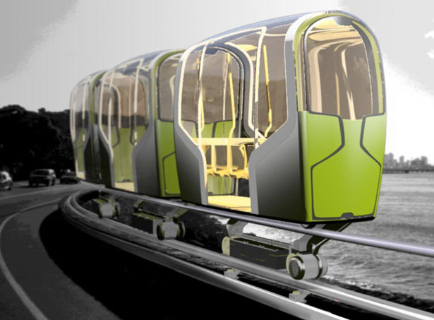 Slim Ride Driverless Electrical Rail System Concept Transportation by Oliver Neuland Design