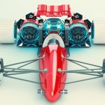 SoberPixels Red Racer : Futuristic F1 Concept Racing Car by Ronald de Groot