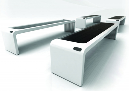 Solar Inside : Solar Powered Bench Made From Recycled Material